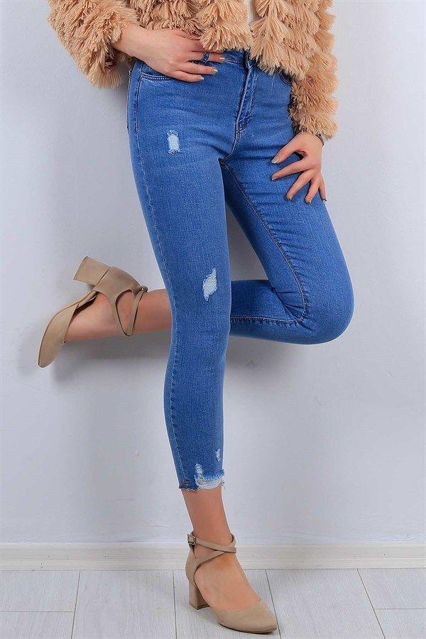 Mavi Paca Desen Likrali Bayan Kot Pantolon 11154b Tarz Moda Moda Stilleri Kotlar