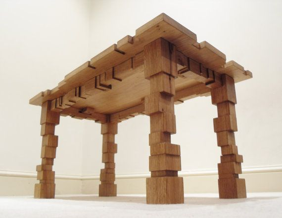 Oak Coffee Table  Solid Wood  Geometric Design  by RyonDesign, £345.00 - this thing is SOOOO COOL!!!!!