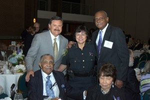 Domingo Garcia, Dallas County Sheriff Lupe Valdez, and Peter Johnson/ Sitting:Dr. Joseph Lowery and wife Evelyn Lowery