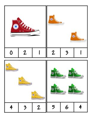 Pete the Cat - Shoes - Count and Clip Cards #1-24 from PreK Printables on TeachersNotebook.com - (6 pages) - Print on cardstock or paste on construction paper, then laminate! Students will use clothes pins to mark the correct number.