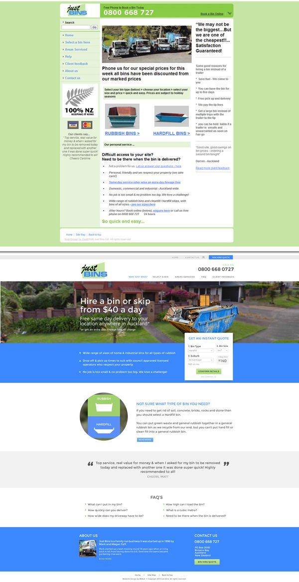 Just Bins website redesign before and after