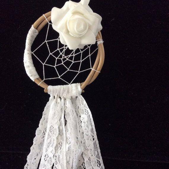 Beautiful white dream catcher, natural reeds, white rose, white lace, white cotton $20