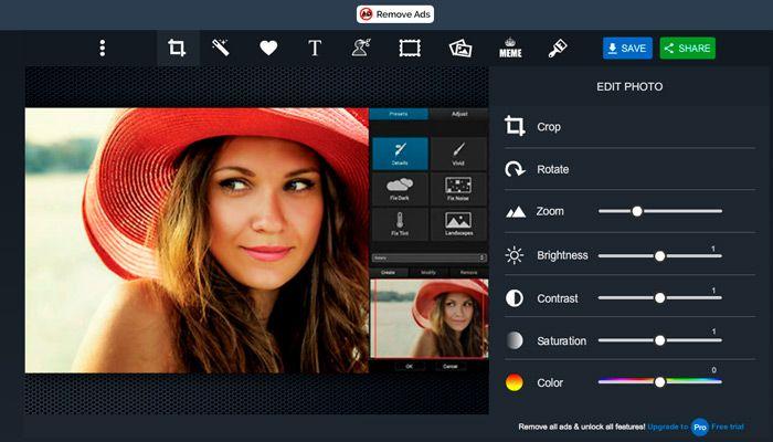 Pizap, un Programa para Retocar Fotos online y sin descargar