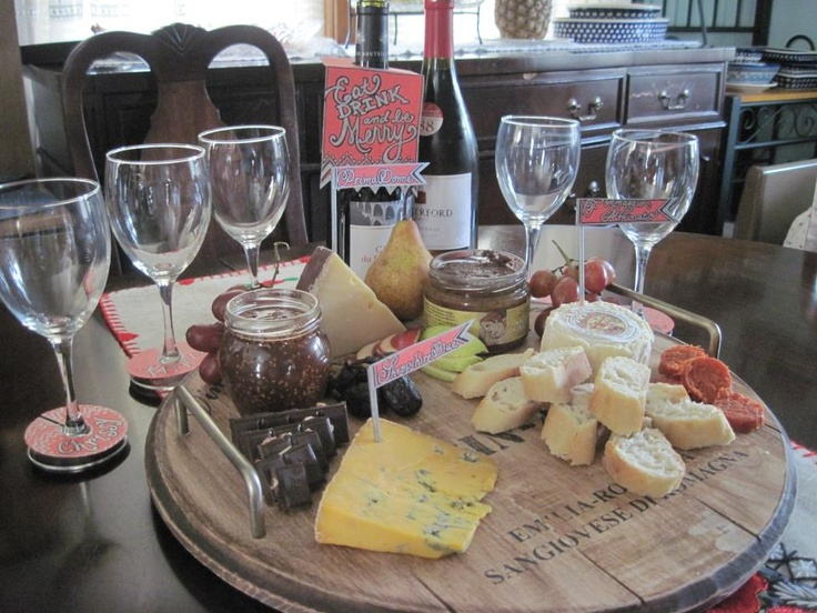 Our wine and cheese party...complete with handmade wine and glass tags, and cheese flags!