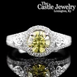 Canary Yellow 1.63 CTTW Diamond Beaded 14 K White Gold Engagement Ring