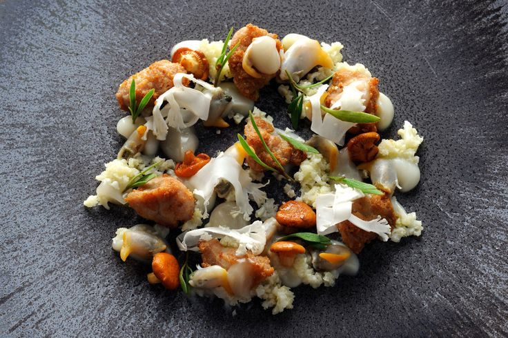 Roasted veal sweetbreads, cockles, cauliflower cous-cous and girolles recipe - This is a remarkable sweetbreads recipe from Adam Simmonds that tastes as good as it looks. Not over-cooking is the key to tender and flavoursome sweetbreads. Served these veal sweetbreads with an intriguing combination of cockles and a mock-couscous, made using cauliflower.