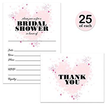 So In Love Pink Hearts Bridal Shower  Fill-In Invitations & Matching Thank You Cards Set with Envelopes, Designed Exclusively for Handmade at Amazon by Digibuddha Invitation + Paper Co.