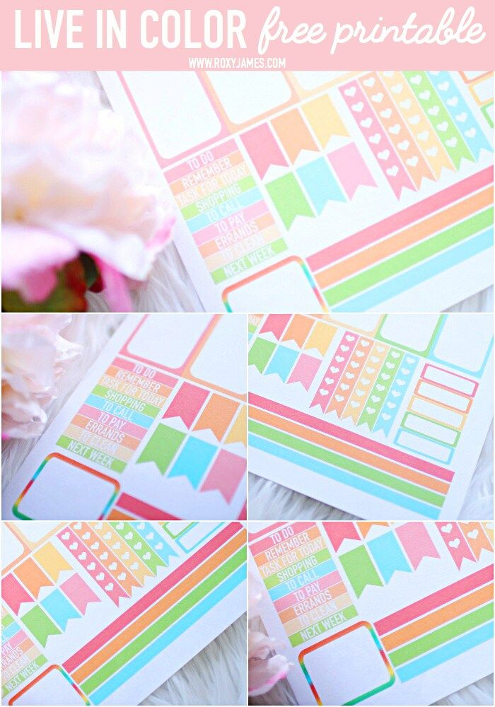 Free Printable Live in Color Planner Stickers - Roxy James ...