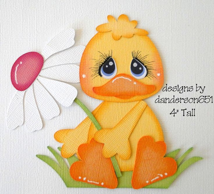 Duck with Flower Paper Piecing PreMade 4 Borders Scrapbook Album danderson651