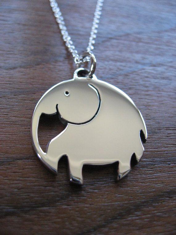 Chunky Elephant Pendant Necklace by GorjessJewellery on Etsy
