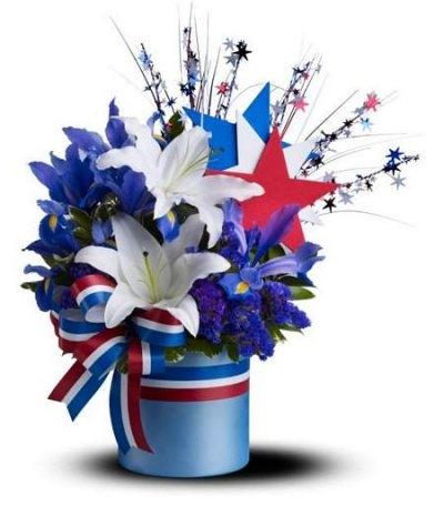 1000 images about patriotic floral arrangements on for Red white blue flower arrangements
