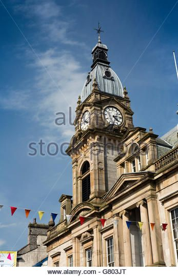 UK, Cumbria, Kendal, Highgate, Kendal Town Hall clock tower - Stock Image