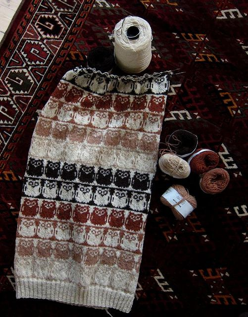 Owl scarf fair isle knit chart