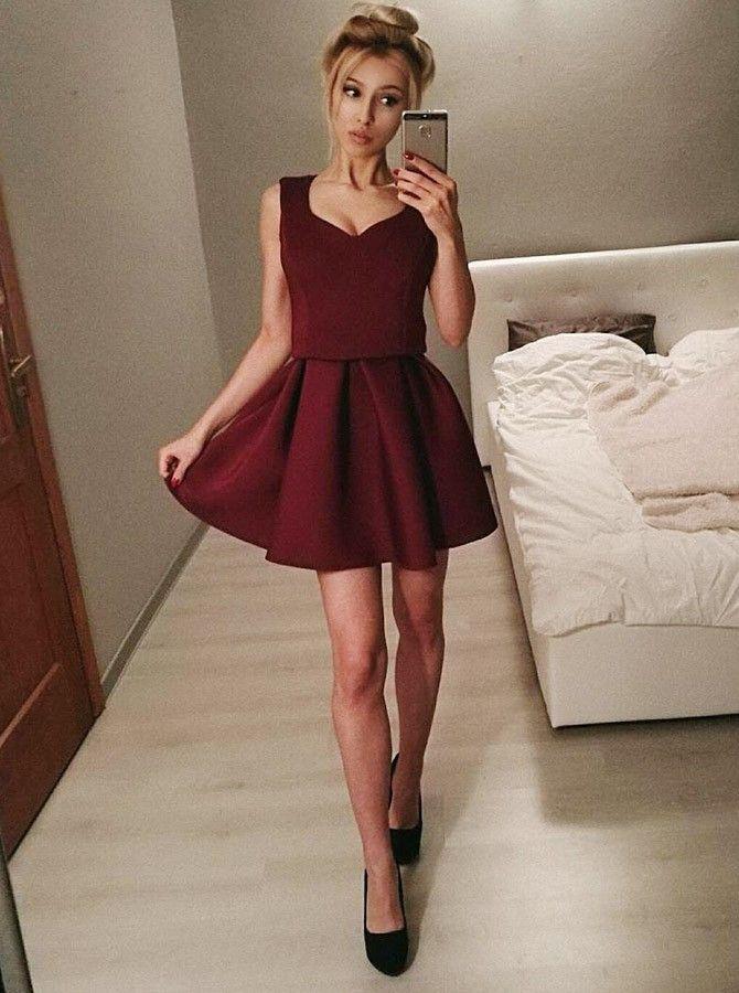 2886d61445d A-Line V-Neck Sleeveless Burgundy Satin Homecoming Dress