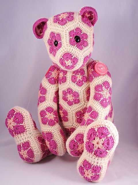 Ravelry: Lollo the African Flower Bear pattern by Heidi Bears: Crochet Ideas, Heidi Bears, Crochet Animals, Flower Bear, African Flowers, Crochet Pattern, Africans
