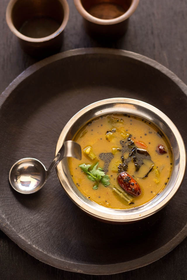 udipi sambar - lightly spiced, semi sweet with a touch of sourness is this famous sambar from the temple town udipi. made with pigeon pea lentils and mix veggies. best served with idli, dosa or some steamed rice.  #udipisambar #sambarrecipes #sambar #udipicuisine #udipi #udipirecipes