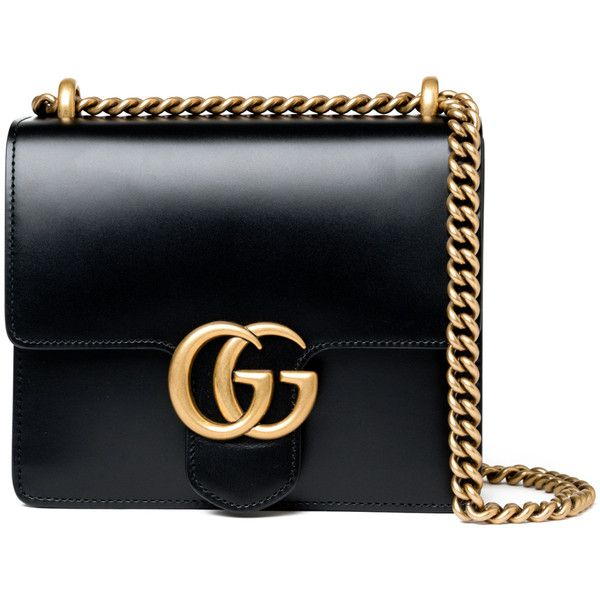 Gucci Small Marmont Bag - Black found on Polyvore featuring bags, handbags, black, gucci, all bags, kirna zabete, chain shoulder bag, chain strap handbags, oversized handbags and top handle handbags