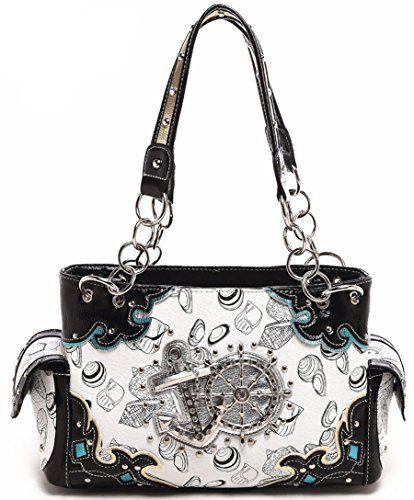 Cowgirl Trendy Western Concealed Carry Anchor Helm shell Cow Purse Handbag Messenger Shoulder Bag Black ** Visit the image link more details.