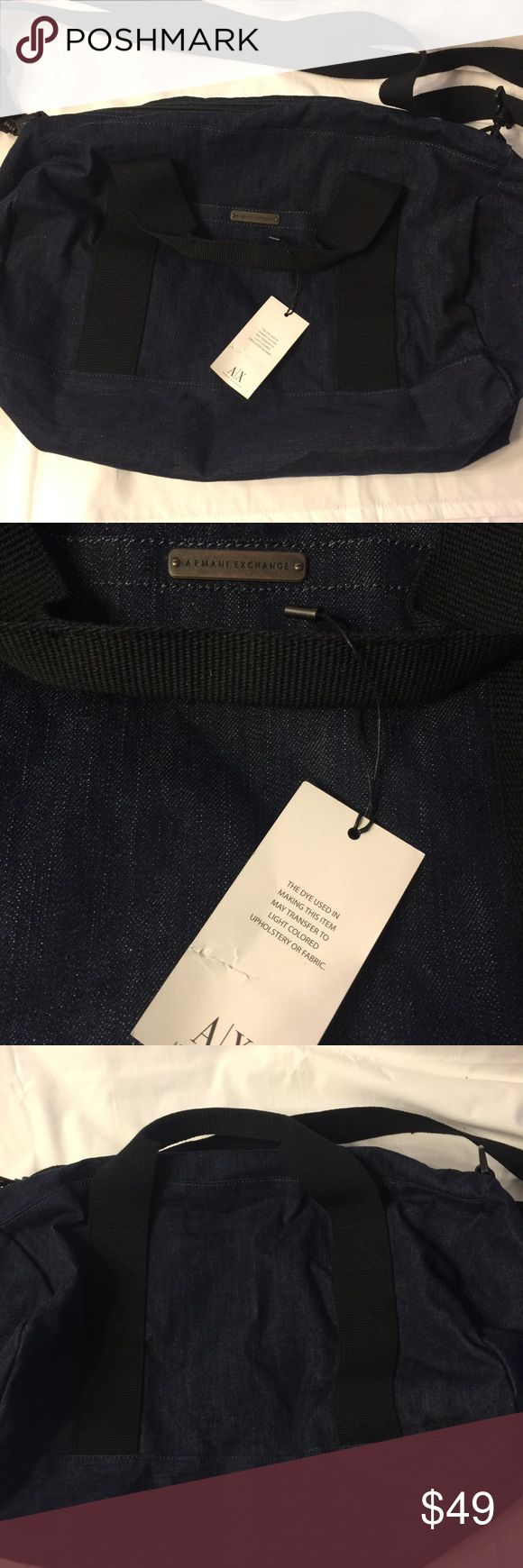 Armani Exchange A/X Denim Duffle bag weekender New Armani Exchange A/X Denim cotton Duffle bag in a dark blue wash with black handles.  Dimensions 17 x 9 x 9 in. Green lining.  1 outside pocket.  1 inside zip pocket. A/X Armani Exchange Bags Duffel Bags