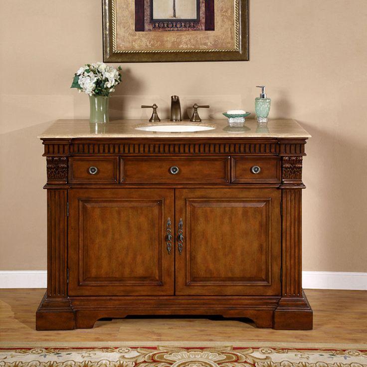48 Inch Travertine Stone Countertop Bathroom Single Sink Vanity Cabinet 0181TR