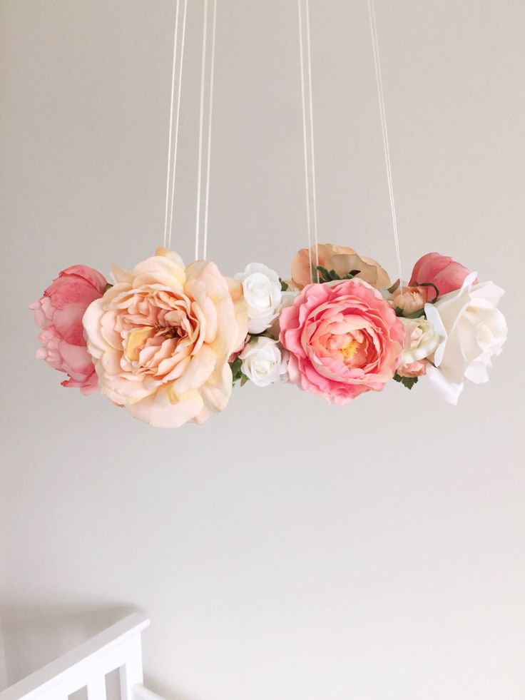 Pre-Order: Whimsical coral & peach nursery flower mobile, floral crib mobile, baby girl mobile, baby mobile, floral wedding chandelier by RosyRilli on Etsy https://www.etsy.com/listing/243375226/pre-order-whimsical-coral-peach-nursery