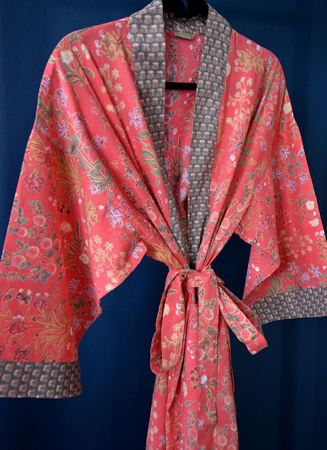 Coral red kimono dressing gown fro Natural Bed Company  8f26cf727bf3