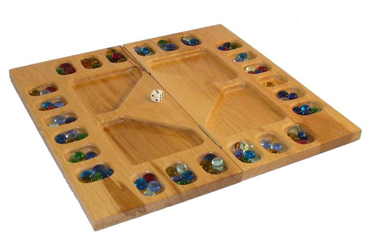Up to 4 players can play this version of the traditional Mancala game. AND it folds up neatly.