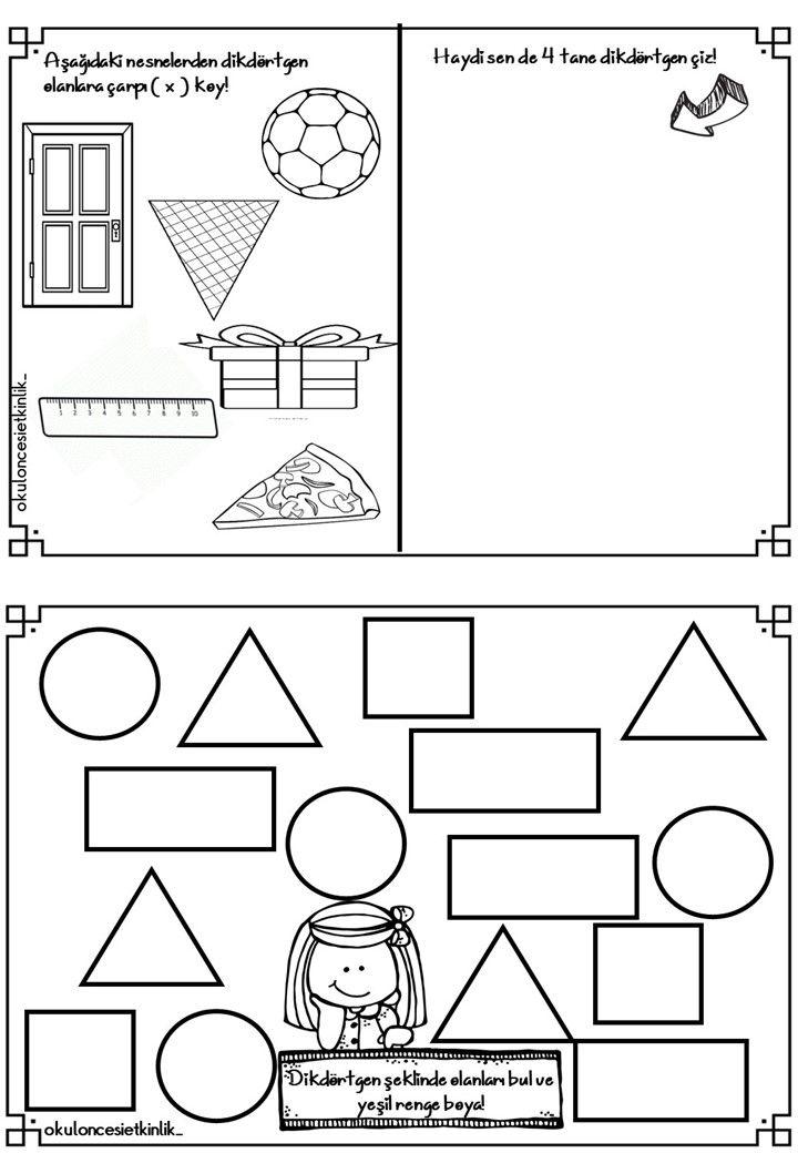 Dikdortgen Ile Ilgili Calisma Sayfasi Geometri Okul Oncesi