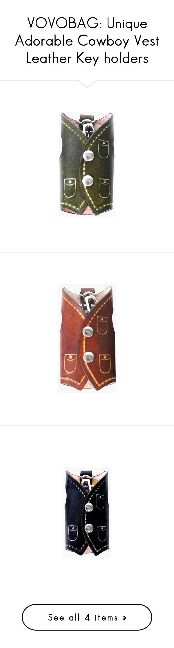 """VOVOBAG: Unique Adorable Cowboy Vest Leather Key holders"" by vovobag ❤ liked on Polyvore featuring accessories and vovobag"