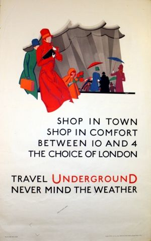 London Underground Shop in Town, 1928 - original vintage poster by Leith listed on AntikBar.co.uk