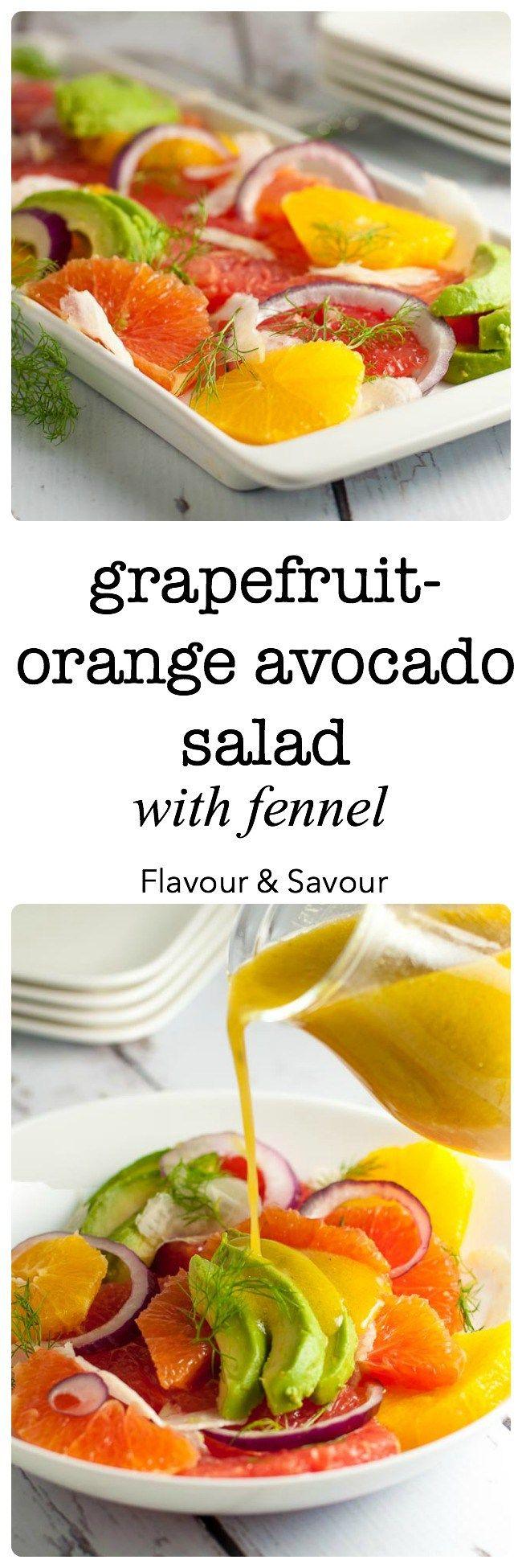 Grapefruit-Orange Avocado Salad with Fennel. Banish the winter blues ...
