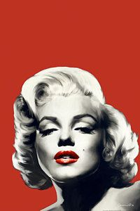 Celebrity Painting - Red Lips Marilyn In Red by Chris Consani