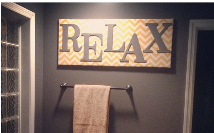 Grey and yellow bathroom.  Fabric covered canvas