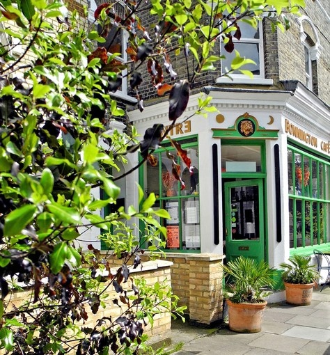 The green door opens to the Bonnington Cafe in London, which serves low-cost vegetarian and vegan meals. 1 Vauxhall Grove, London