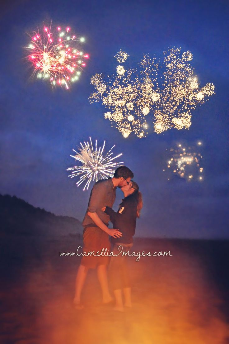 Romantic Nighttime Fireworks Portrait & a kiss! (Camellia, meet Baby: My Beautiful Beach Session with the Turners ~ Tacoma Family Photographer)