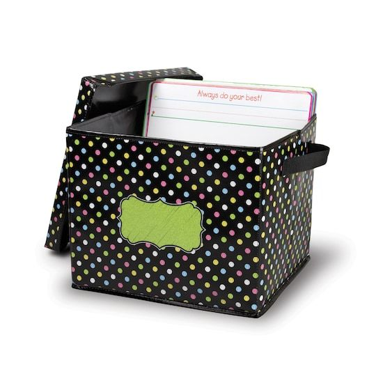 Chalkboard Brights Storage Box With Lid By Teacher Created ...