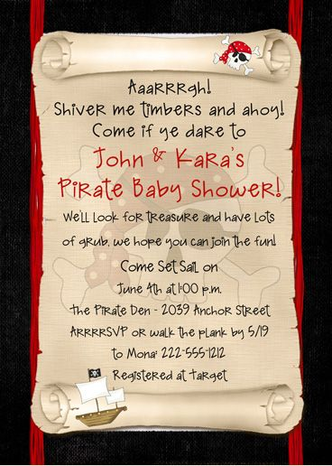 pirate themed baby shower ideas | Pirate Baby Shower Invitation Black  Red