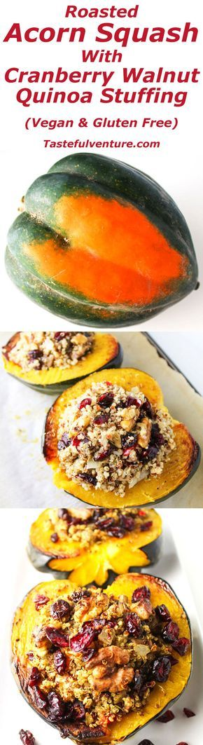 This Roasted Acorn Squash with Cranberry Walnut Quinoa Stuffing is a crowd favorite, it is also Vegan and Gluten Free! | Tastefulventure.com