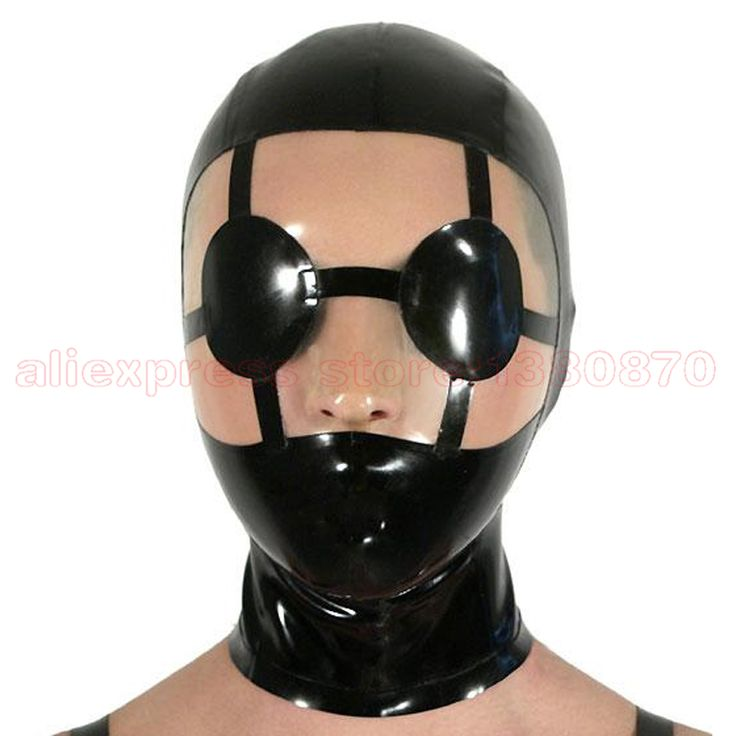 Women Man Unique Black Sexy Latex  Mask Latex  Club Hood LM079 #Affiliate