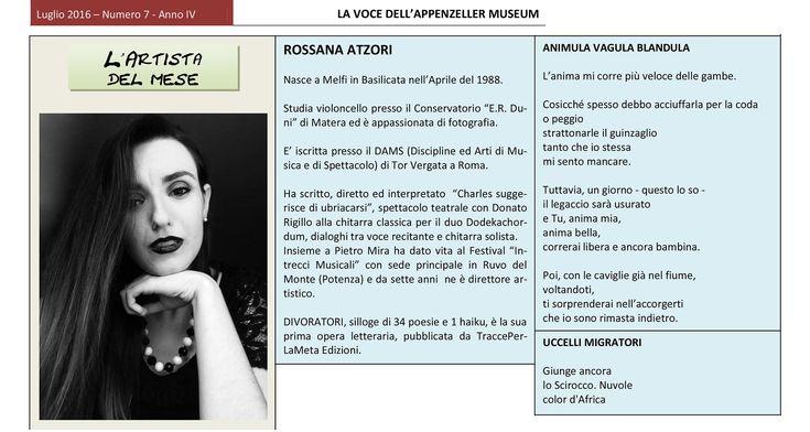Luglio 2016, n.7, La Voce dell'Appenzeller Museum Rossana Atzori, Artista del mese