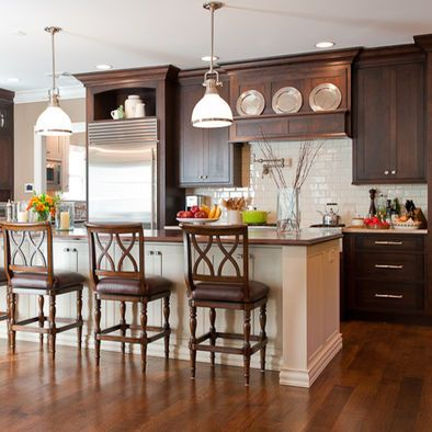 Dark Cabinets Design, Pictures, Remodel, Decor and Ideas  (cherry floor, darker cabinets, white island w/ thick trim)