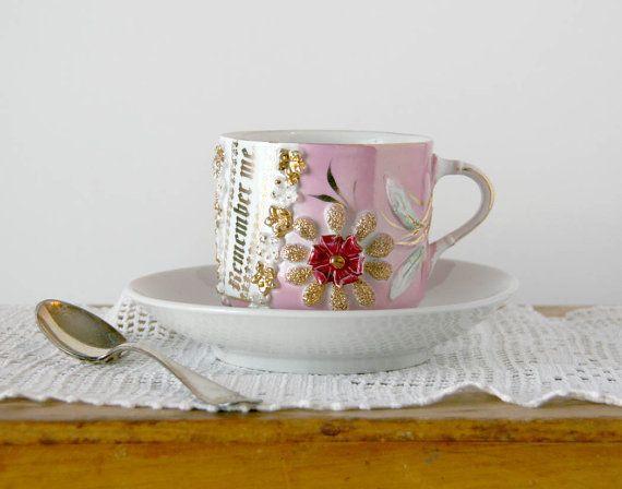 antique remember me cup and saucer pink lustreware made in. Black Bedroom Furniture Sets. Home Design Ideas