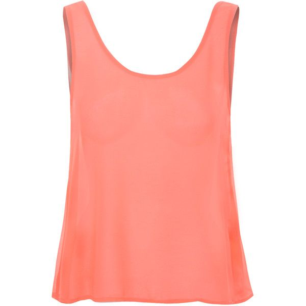 Coral Chiffon Vest Top ($24) ❤ liked on Polyvore featuring tops, shirts, orange, red v neck shirt, orange tank, red shirt, v neck tank y orange shirt