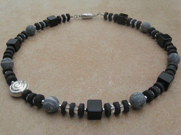 OktoberNacht Onyx-Bergkristall-Jaspis-Collier – Ja…