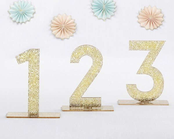 Gold Glitter Acrylic Table Numbers (1-6)