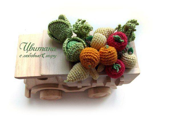 Вязанные игрушки, вязанные овощи, вязанные фрукты, развивающие игрушки, игровые наборы