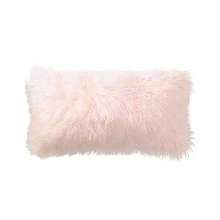 Light Pink Tibetan Lamb Pillow with Silk Backing