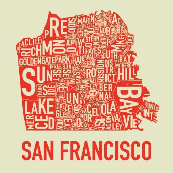 San Francisco Neighborhoods Screen Print