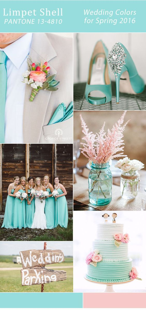 pink and aqua limpet shell pantone spring wedding color ideas 2016 Pantone just released 10 colors for spring 2016 few days ago and those are just perfect for spring weddings as well. As one of the most important events in our lives, our weddings surely deserve second consideration o… See more from https://www.elegantweddinginvites.com/top-10-wedding-colors-for-spring-2016-trends-from-pantone/