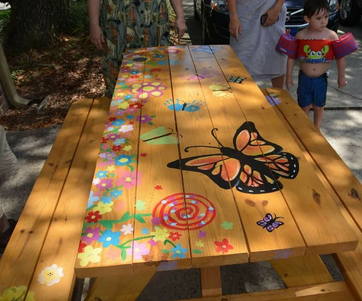 Stained Hand Painted Picnic Table In 2019 Painted